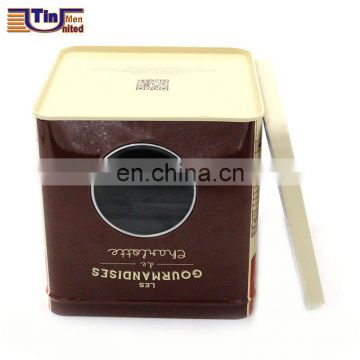 Small Square Tin Box with Body PET Window