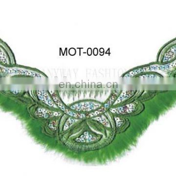 Fashion sequin motif designs with green fur for brazil carnival costumes