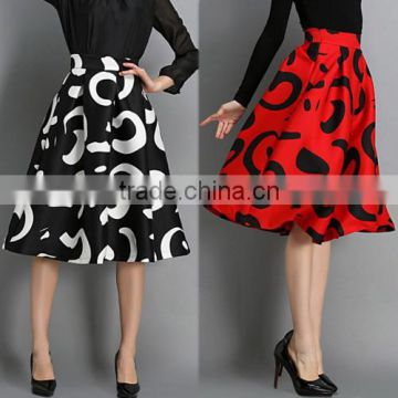 European Style Fashion Women's Retro Contrast Color High Waist Print Pleated Ball Gown Midi Swing Puff Skirt