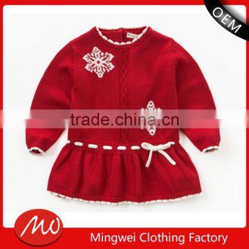 5abb4d82b327 girls fancy christmas pattern 100% cotton sweater dress designs for ...