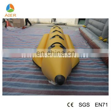 Small yellow Inflatable floating banana boat