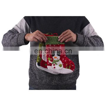 26CM Medium 3D Embroidery Cartoon Decoration and Gift Christmas Stockings with Snowflakes Printing - Santa Claus