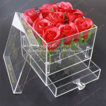 Clear acrylic flower box with drawer flower gift box christmas flower gift