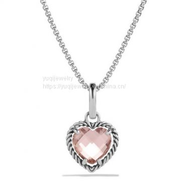 925 Silver Jewelry Cable Heart Pendant with Morganite(P-085)