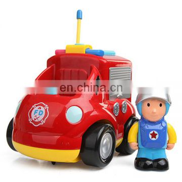 Nice design 3 channel cartoon rc car fire engine toy for sale