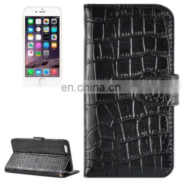 New Design Crocodile Texture Horizontal Flip Genuine Leather Case with Card Slots&Holder for iPhone 6