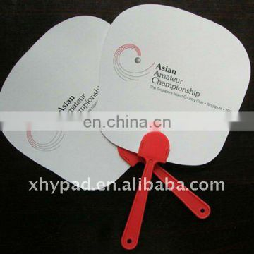 Custom Plastic Handle Paper Fan with Glossy Lamination