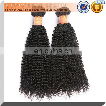 Yotchoi Hair 2016 Natural Black Dyeable Quick Indian Virgin Afro Kinky Curl Human Hair Extension