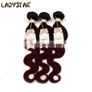 hot sell ombre human hair bundles high quanlity brazilian hair bundles, 3 bundles red brazilian hair weave