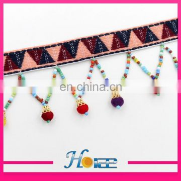latest wooden bead lace trim wooden beaded tassel fringe trim