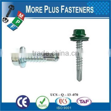 "Taiwan #12-14 x 1"" Indent Hex Unslotted Hex Washer Head Epoxy #3 410 Stainless Steel Bonded Sealing Washer Self-Drilling Screw"