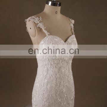 Fantastic Fish Tail Lace Straps Sweet Heart Backless Wedding Dress Curvely HorseHair