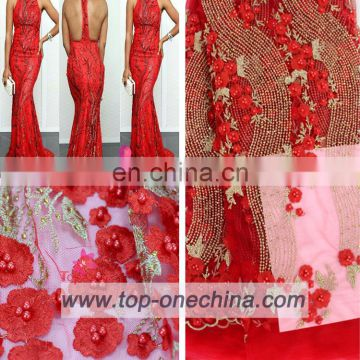 China wholesale 3d lace fabric/3d beaded lace fabric/3d lace fabric beads bridal for wedding party