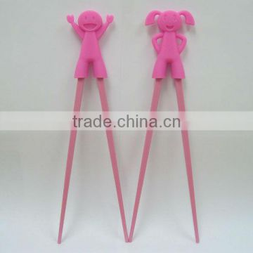 fashionable and useful silicon/plastic chopsticks with lovely sleeve for kids