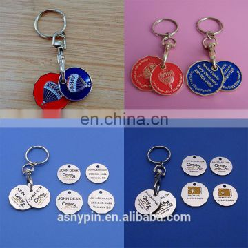 Supermarket Trolley Coin Keyring and logo token coin Holder keychain