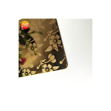 JYF004 Anti-fingerprint 304 color titanium etching decorative stainless steel sheet prices