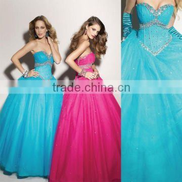 Hot sale sweetheart appliqued beaded turquoise custom-made ball gowns CWFab4274