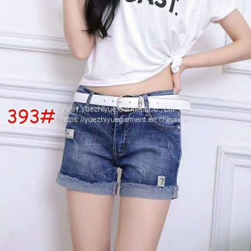 fashion girls short jeans pants washed light blue ladies jeans top design butt lift denim women jeans short