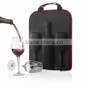 customized EVA wine gift packing 750ml champagne & goblet carrier