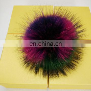 Factory Supplier Genuine Many Color Real Raccoon Fur Pompom keychain
