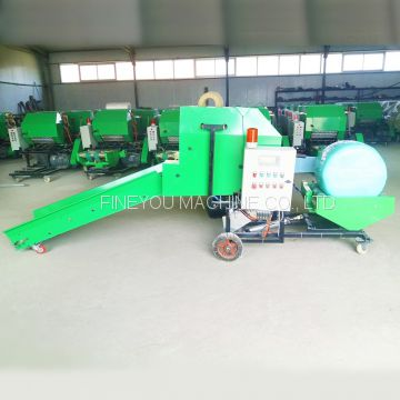 Air pressure control fully automatic Straw round bale and wrapping machine