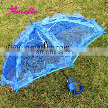 A0210 Cheap Blue Lace Wedding Parasol Umbrella