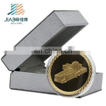 Custom 3d gold metal coin Arabia logos stamping zinc alloy metal challenge coin with custom PU box