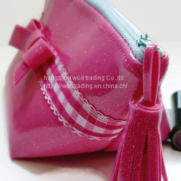 pink bow make up bag with PVC material