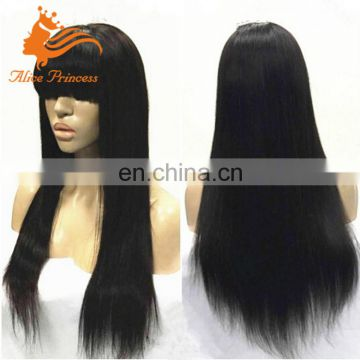 100% Human Hair Lace Front Wig WIth Bangs Silky Straight Unprocessed Virgin Peruvian Hair Wig For Women
