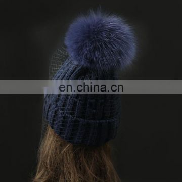 Winter fashion real big fox fur pom pom weaven hats with jacobs