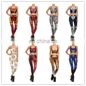 Women Vest Fitness Set Sexy Girl Crop Top Pants Slim Cosplay Printed suit