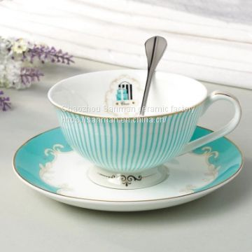 2018 new design ceramics factory european luxury cofffee cup with saucer