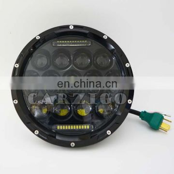 aluminum housing 7inch round 75W LED head light with DOT E9 FCC CE ROHS for jeep truck,trailer,offroad