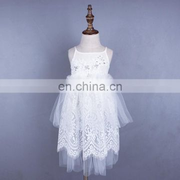 White Lace Baby Girl Dress Slip Tulle Maxi Frock Blessing Gown Princess Costume