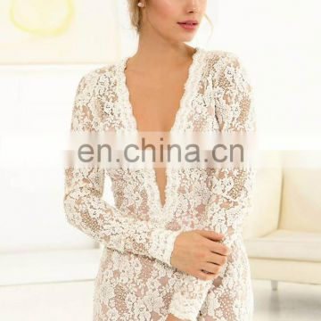 Long sleeve lace wedding gown for bridel