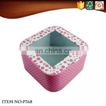 Small Flowers Pattern Cover with Clear Window Packaging Box