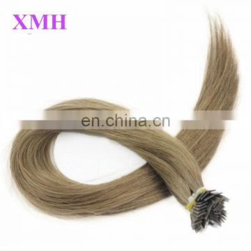 Wholesale Price Remy hair extensions Italian keratin Flat-tip human hair extension/silver hair