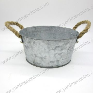 round shape galvanized finished metal flower pot