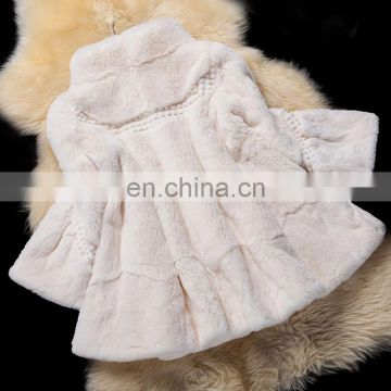Genuine rex rabbit fur coat custom color fur overcoat for ladies