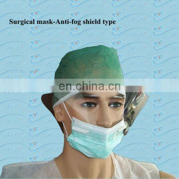3 ply disposable face mask with anti-fog visor