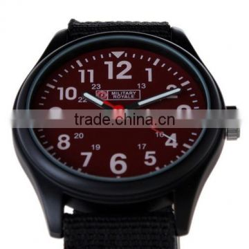 Men's Military Red Dial Black Fabric Strap Date Sport Army Watch MR054
