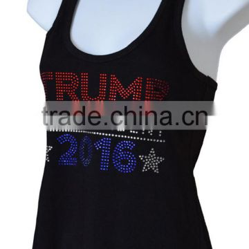 New Women GYM Singlet Custom rhinestone 100 cotton tank top