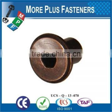 Made in Taiwan Brass Material Bronze or Nickle Material Flat Head Hex Socket Connector Cap Nut