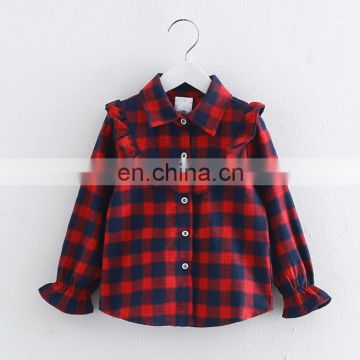 Wholesale baby girls long sleeve blouse with ruffle pattern latest girls blouse designs