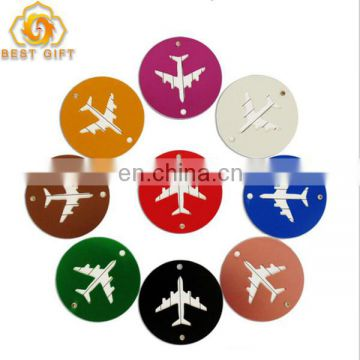 Custom Souvenir Round Metal Luggage Tags With String