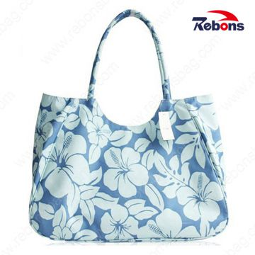 New Design Flower Series Vintage Beach Bag with Flower Print