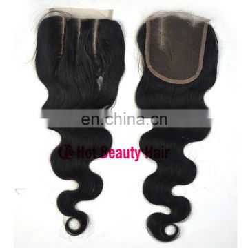 Cuticle Aligned Brazilian Virgin Human Hair Body Weave Closure Knots 4*4 lace closure body wave straight deep wave available