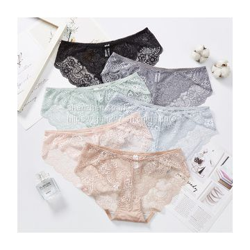 High quality sexy lace women seamless middle waist plus size anti-microbial Lingerie girl transparent ladies underwear panties