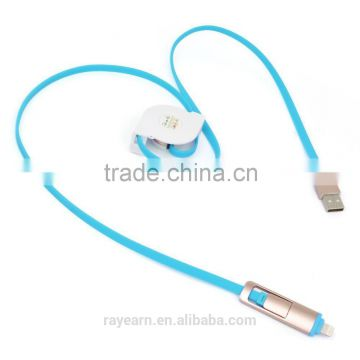 REYON Retractable 2 IN 1 8pin Micro USB Charging Data Cable Cord for iPhone 6 Plus 6s 5 5s Samsung s7 edge,htc