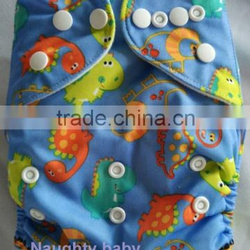 Naughty baby brand cartoon print pocket cute baby cloth diaper Eco friendly reusable baby diaper cover washable baby nappy